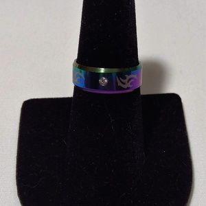 Multi-Color Unisex Solitaire Tribal Symbol Ring